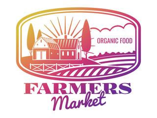 Bright farmer market label or emblem