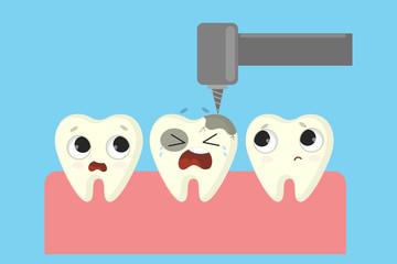 Bad tooth repairing.