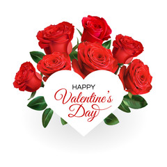 Valentine's Day greeting card template. Realistic red roses isolated on white background.