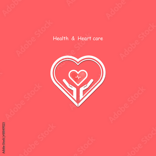 Human hand with Heart icons vector logo design template Love