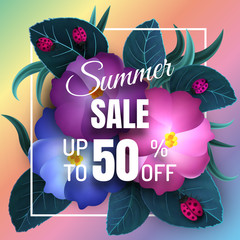 Sale banner, poster with paleaves, flowers and ladybirds . For advertising and promotion. Floral  summer background. Vector illustration EPS10
