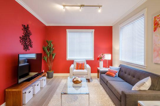 Modern red living room. Interior design.