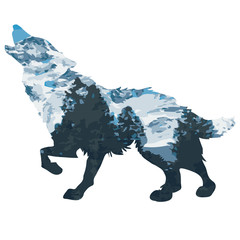 Wolf double exposure mountain landscape with fir trees