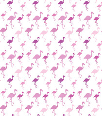 Flamingo silhouette on white background. Seamless pattern.
