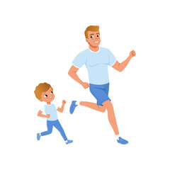 Cartoon father and son running together. Morning jogging. Sporty family. Fatherhood concept. Physical activity and healthy lifestyle. Flat vector design
