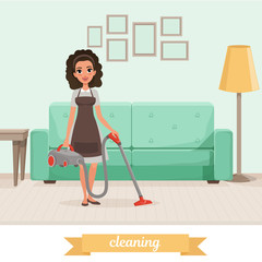 Young girl cleaning floor with vacuum cleaner at living room. Sofa, lamp, table and pictures on wall. Maid service. Woman in dress and apron. Flat vector design