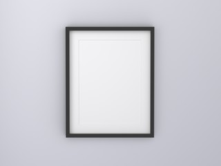 blank black picture frame templates set on white background