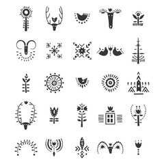 Vector set of hand drawn decorative animals and plants in Scandinavian style. For posters, patterns, lettering.