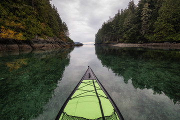 Kayaking near Port Hardy, Vancouver Island, BC, Canada.