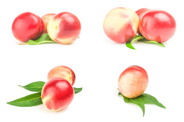 Collection of ripe peaches isolated on white