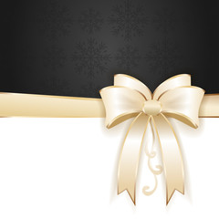 Golden bow ribbon on black decorative background. Vector, illustration eps10