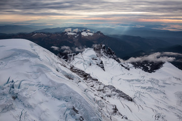 Aerial view of the famous volcano, Mount Baker, that can be seen from Vancouver and Seattle. Located in Washington State.