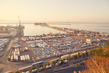 Cargo port terminal with a large number of containers and new cars. In the background is a cargo ship.