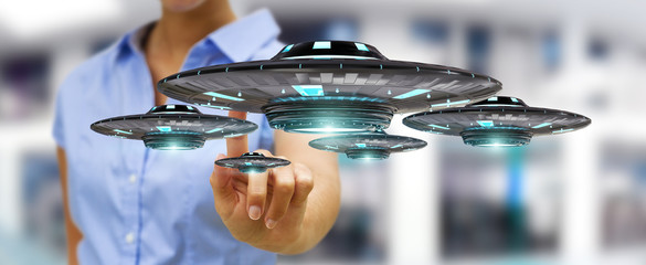 Businesswoman with retro UFO spaceship 3D rendering