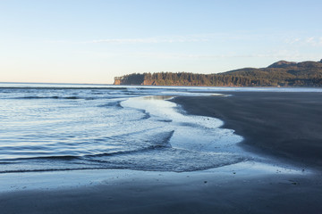 Pacific Ocean Coast in Washington State during a Vibrant Sunrise.