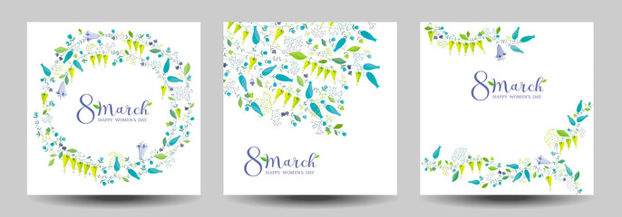 8 March flower vector greeting cards