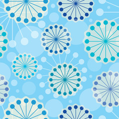 Vector stylized flower shapes on a blue background. Seamless pattern.