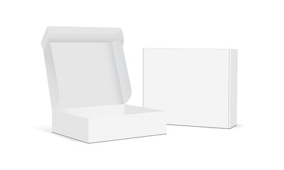 Two blank packaging boxes - open and closed mockup, isolated on white background. Vector illustration