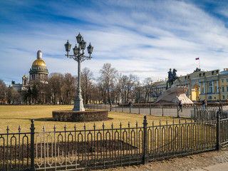 Senate Square with St. Isaac's Cathedral and the monument to Peter I in St. Petersburg