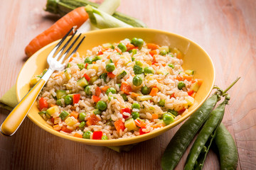 rice with mixed vegetables, selective focus