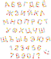 Vector Russian alphabet and numerals with flowers in funny cartoon style