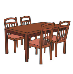 vector, dining table with chairs