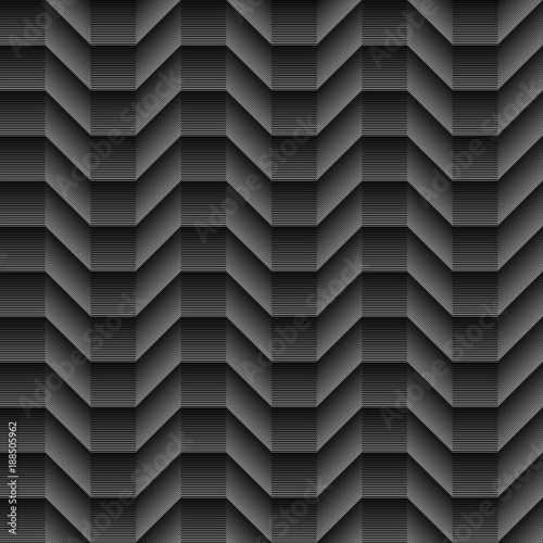 Geometrical Lines Shaded Cubical Seamless Waves Pattern On
