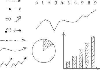 手書き グラフ 矢印 セット