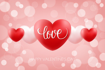Happy Valentines Day celebrate background with handwritten word Love and realistic hearts. 14 february holiday greetings. Vector Illustration.