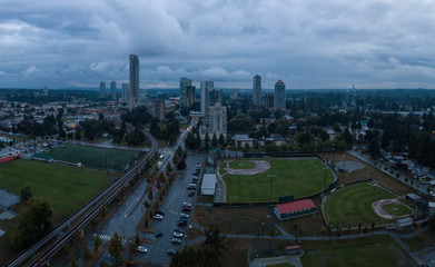 Aerial panoramic view of Surrey City in Greater Vancouver, British Columbia, Canada. Taken during a rainy evening.