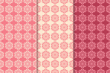 Set of red floral ornaments. Cherry pink vertical seamless patterns