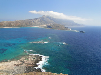 Coast of the island of Crete, view of the Balos lagoon.