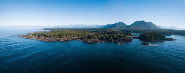 Aerial panoramic landscape view of the rocky Pacific Ocean Coast during a vibrant summer morning. Taken in Ucluelet, Vancouver Island, British Columbia, Canada.  Wall mural