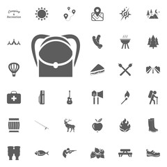 Backpack icon. Camping and outdoor recreation icons set