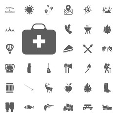 First aid kit icon. Camping and outdoor recreation icons set