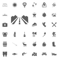Road icon. Camping and outdoor recreation icons set