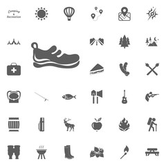 Walk shoes icon. Camping and outdoor recreation icons set
