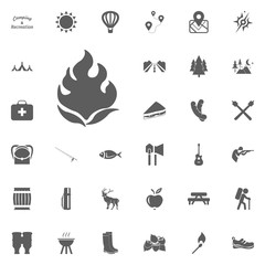 Bonfire icon. Camping and outdoor recreation icons set