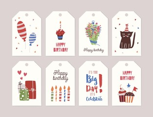 Collection of birthday labels or tags with bouquet of flowers, cupcake with burning candle, gifts, balloons, funny cartoon cat wearing party hat, confetti. Festive colorful vector illustration.