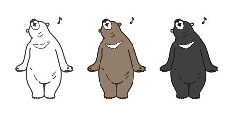Bear Vector Polar Bear icon logo singing illustration character cartoon