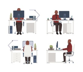 Man working on computer at workplace. Male office worker sitting in chair at desk. Flat cartoon character isolated on white background. Front, side and back views. Modern colorful vector illustration.