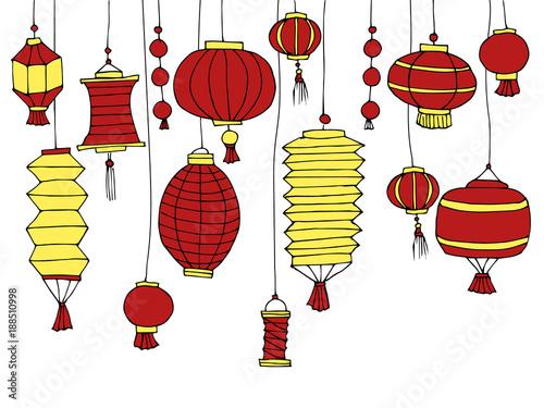 Chinese New Year Decorative Cartoon Elements Set Of Paper Street Hand Drawn Lanterns