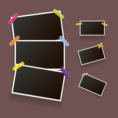 Set of vintage photo frame with shadow isolated on brown background. Vector Photo realistic Mockups with empty space for photo.