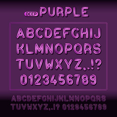 Modern display alphabet font with purple signs