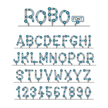 Full set of technical Robot Font letters alphabet