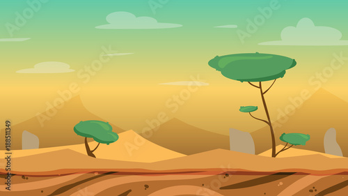 Cartoon Desert Game Background Stock Image And Royalty Free Vector
