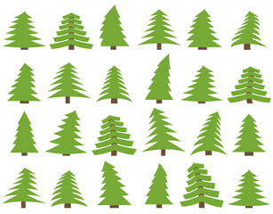 Set of twenty four green pines on a white background. Vector illustration