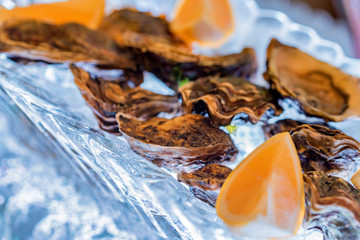 Fresh juicy oysters with lemon