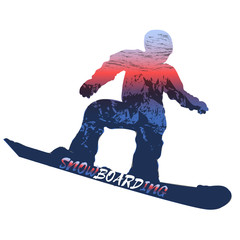 Double exposure. Winter sport. Snowboarder. Vector isolate.