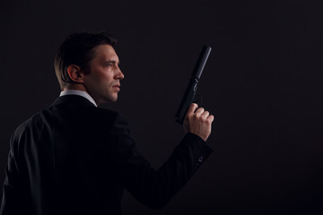 Photo of gangster man with gun